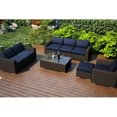 Rosecliff Heights Teak Sofa Seating Group Sunbrella Cushions Fabric Seating Groups