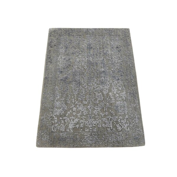 One-of-a-Kind Porath Abstract Oriental Hand-Knotted Silk Gray Area Rug by World Menagerie