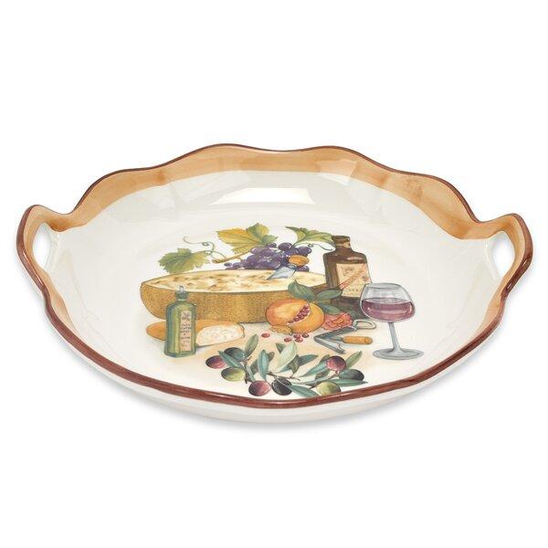 Mona Lisa Round Wavy Edge Platter With Handles by Lorren Home Trends