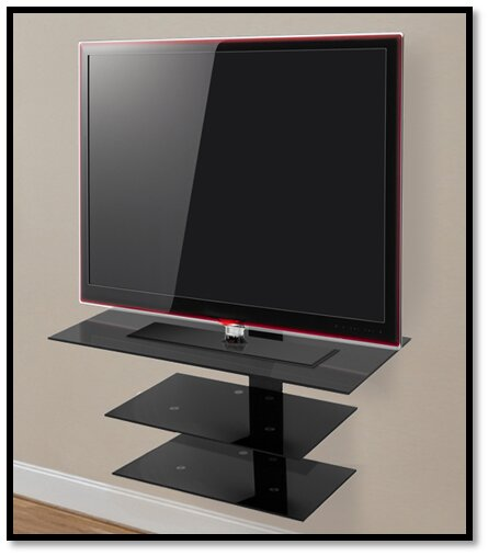 Wall Mounted Glass Shelving System for Up to 50 Screens by AVF