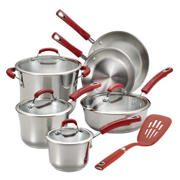 11 Piece Non-Stick Stainless Steel Cookware Set With Lids By Rachael Ray.