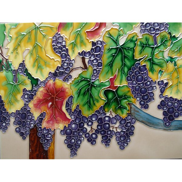 Purple Grapes Tile Wall Decor by Continental Art Center