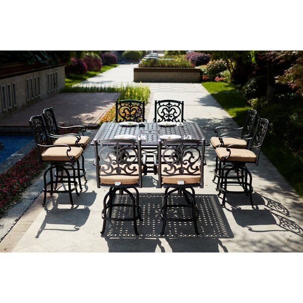 Baudette 9 Piece Bar Height Dining Set with Cushions by Fleur De Lis Living