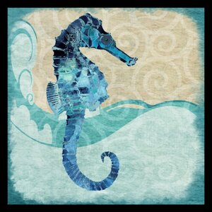 'Ocean Seahorse - Colorful Blue Green Coastal Nautical Sea Life' by Jill Meyer Framed Graphic Art by Beachcrest Home