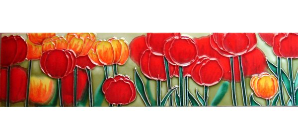 Horizontal Tulips Tile Wall Decor by Continental Art Center