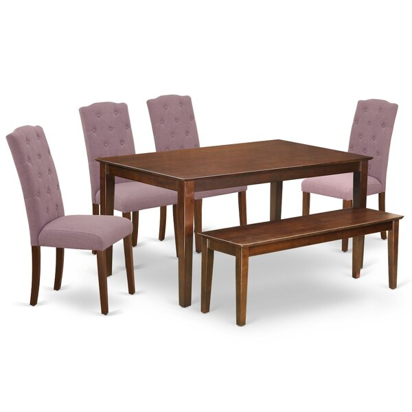 Gilliard 6 Piece Solid Wood Dining Set by Ophelia & Co. Ophelia & Co.