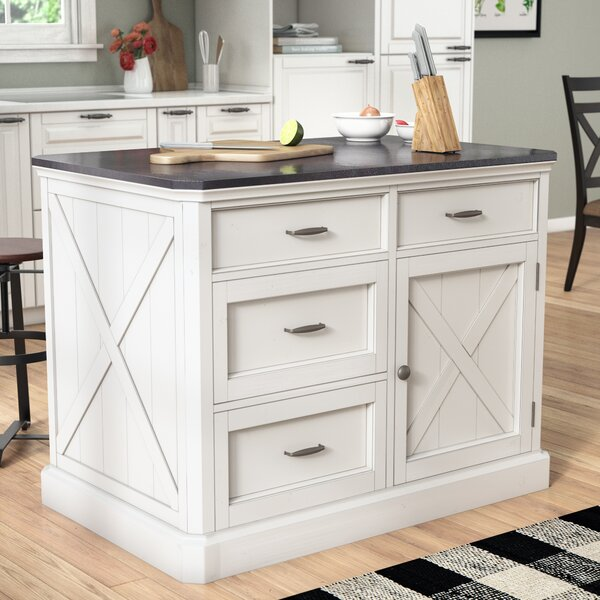 Moravia Kitchen Island with Engineered Quartz Top by Laurel Foundry Modern Farmhouse