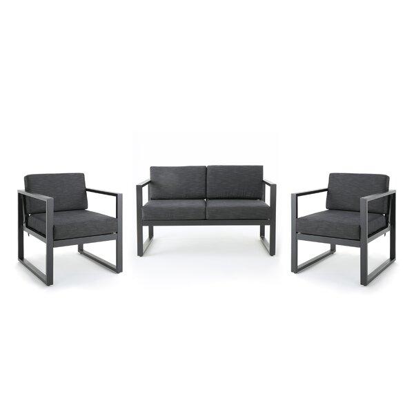 Eckenrode 3 Piece Conversation Set with Cushion by Orren Ellis