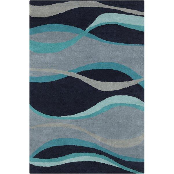 Saxon Hand Tufted Wool Blue Area Rug by Latitude Run