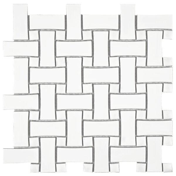 Retro Basket Weave Random Sized Porcelain Mosaic Tile in White by EliteTile