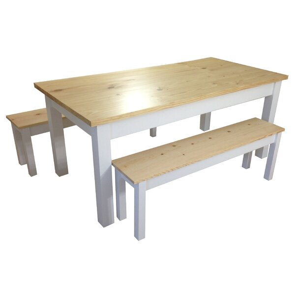 Jarrard Farmhouse Solid Wood Dining Table by Highland Dunes
