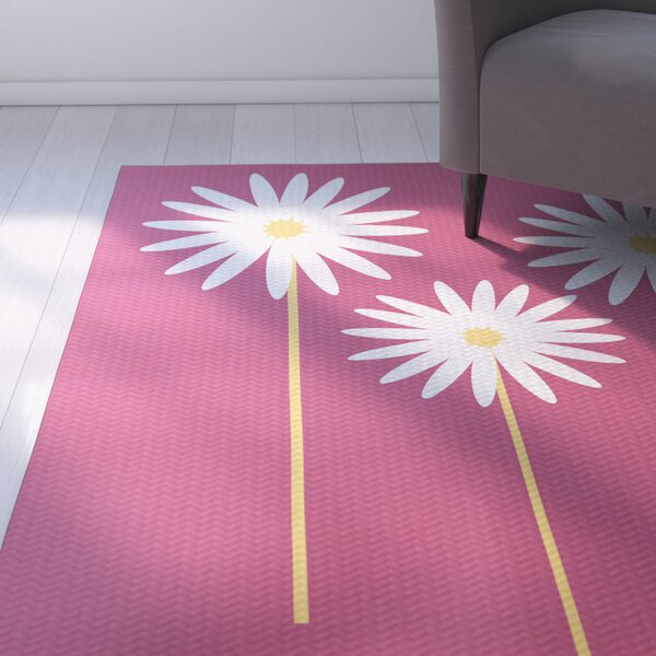 Omar Floral Print Magenta Indoor/Outdoor Area Rug by August Grove