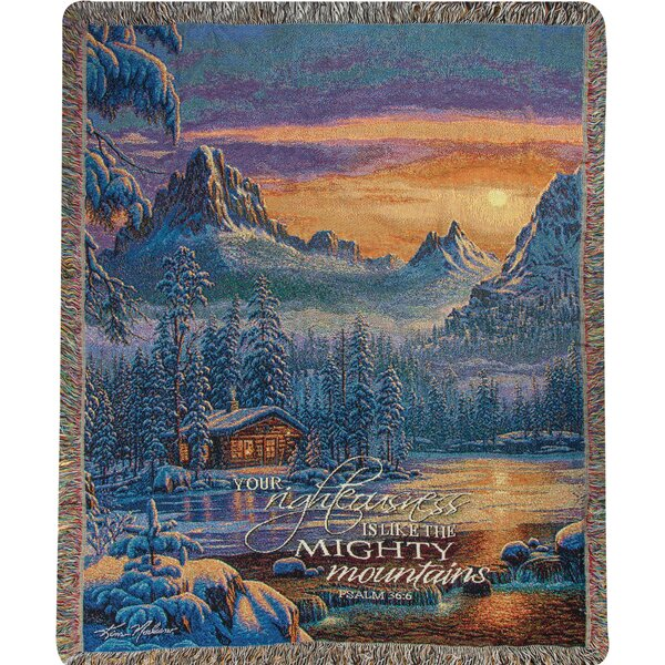 Evening on Mountain Lake Tapestry Cotton Throw by Manual Woodworkers & Weavers