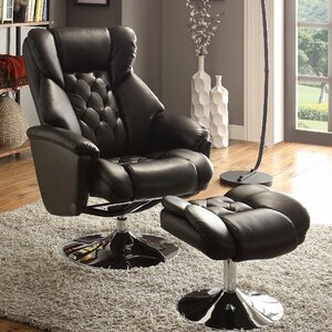 Aleron Manual Swivel Recliner with Ottoman by Woodhaven Hill
