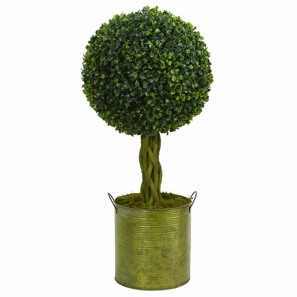 Ball Artificial Floor Boxwood Topiary in Planter by Gracie Oaks