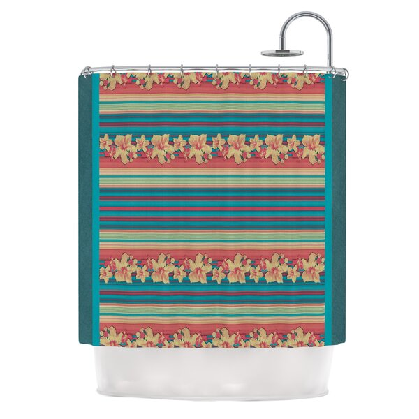 Mahalo Denim Stripe by Nina May Floral Shower Curtain by East Urban Home