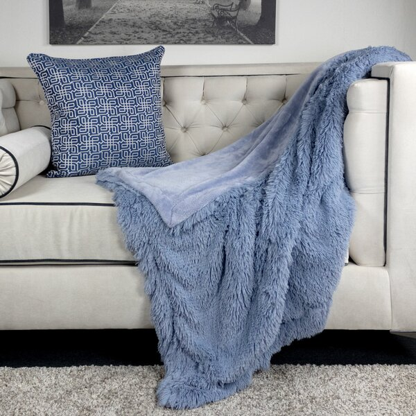 Kimmons Faux Fur and Flannel Shaggy Fleece Fuzzy Blanket by Everly Quinn
