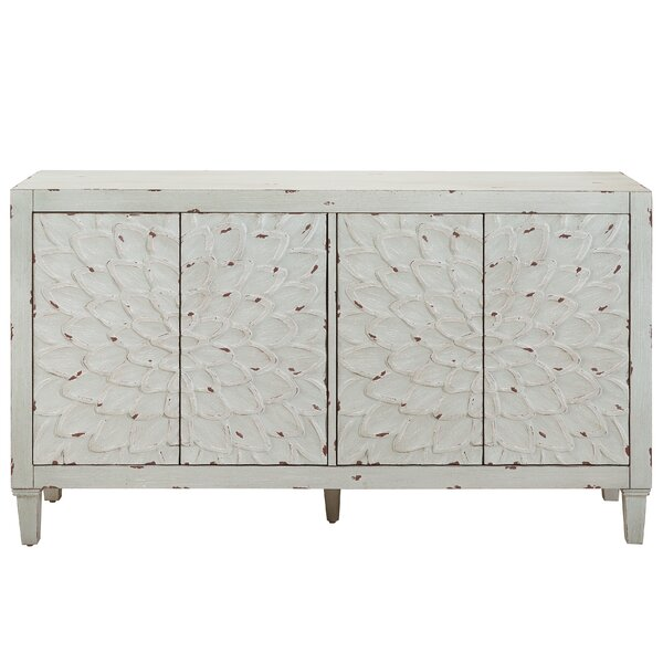 Armstead Dahlia Carved Front Four Door Console in Weathered Mint Green by Bungalow Rose