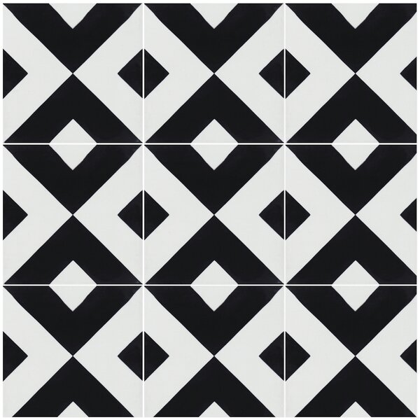 Charge 8 x 8 Cement Field Tile in Black/White by Villa Lagoon Tile