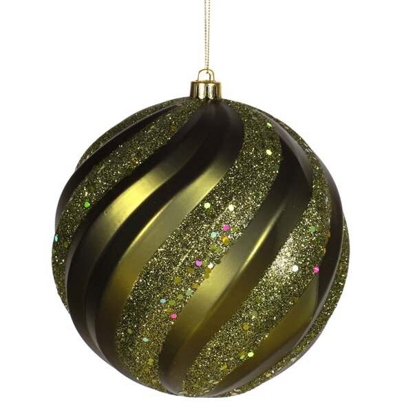 Glitter Swirl Shatterproof Christmas Ball Ornament