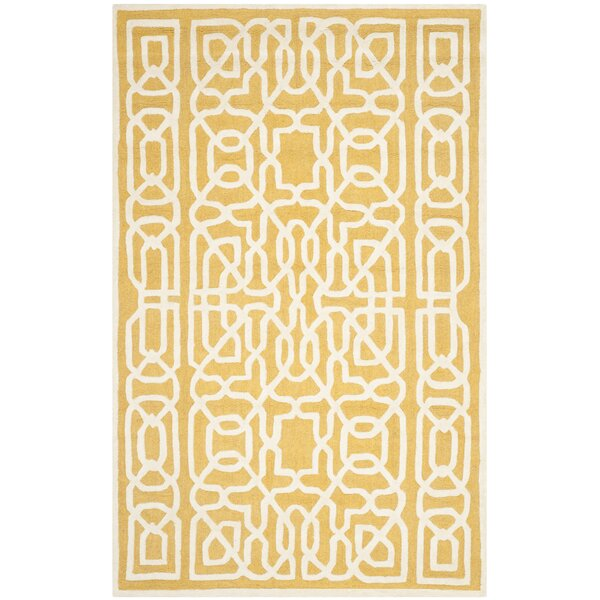 Martins Gold / Ivory Area Rug by Wrought Studio