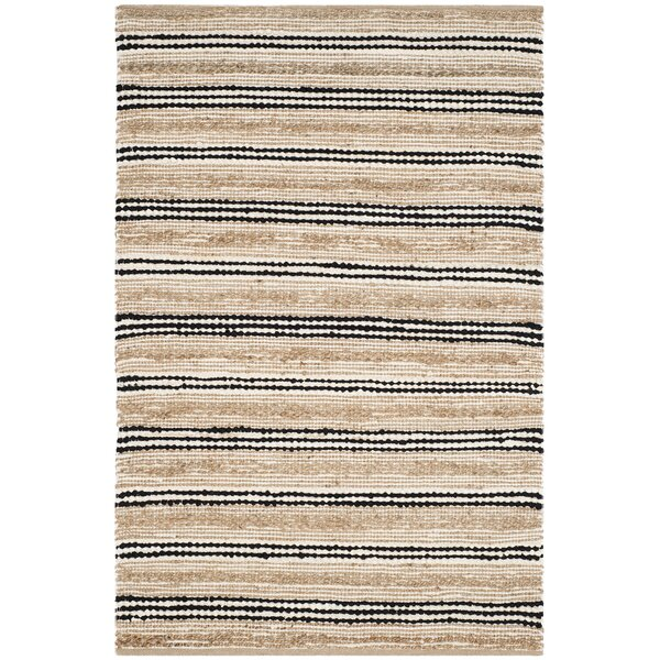 Arria Hand-Woven Natural/Black Area Rug by Highland Dunes