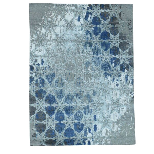 Award Winning Honeycomb Hand-Knotted Gray Area Rug by Williston Forge