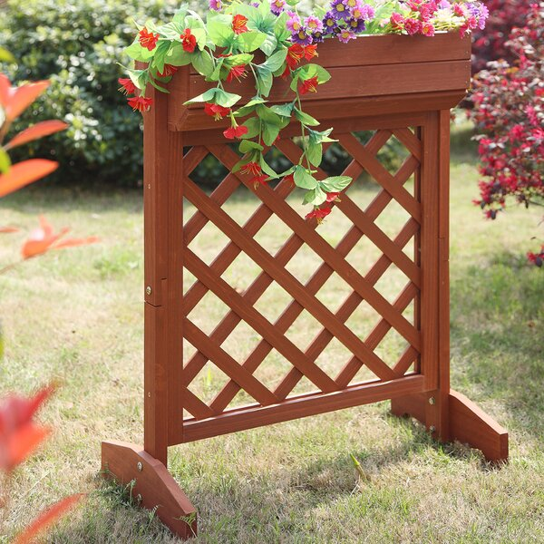 Planters and Potts Fir Wood Planter Box with Trellis by Convenience Concepts