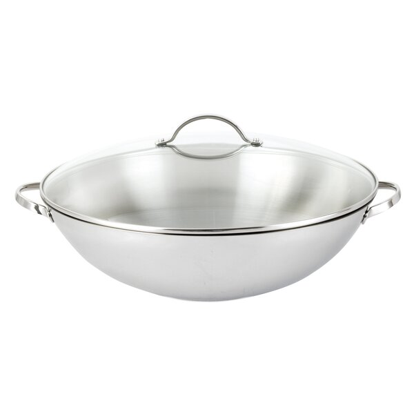 Strauss Tango Stainless Steel Wok with Lid by MyCuisina