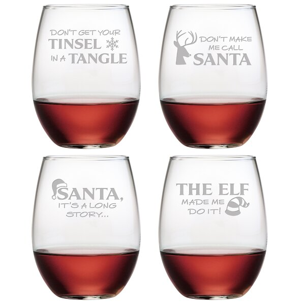 Holiday Hijinks Assortment Glass 21 oz. All Purpose Stemless Wine Glass (Set of 4) by The Holiday Aisle