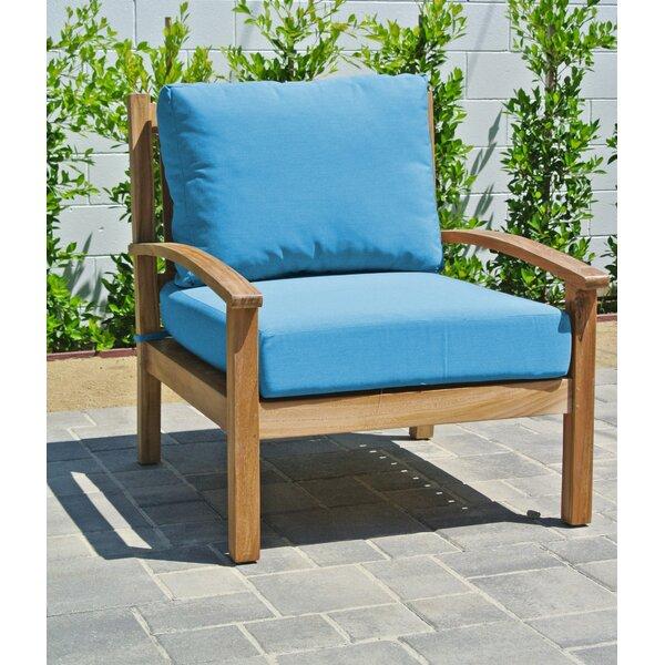 Crescio Teak Patio Chair with Sunbrella Cushions (Set of 2) by Foundry Select