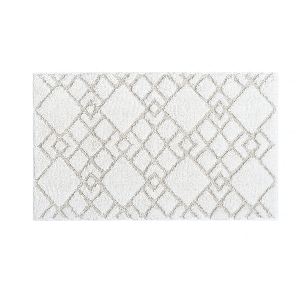 Abou Rectangle 100% Cotton Non-Slip Geometric Bath Rug