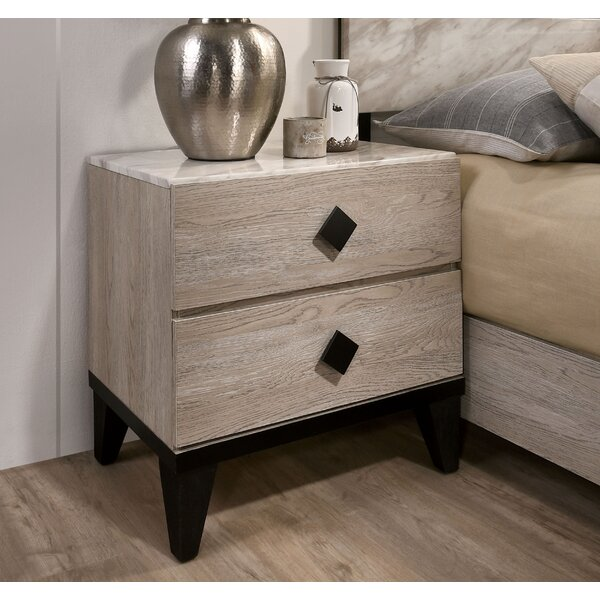 Cortes 2 Drawer Nightstand by Gracie Oaks