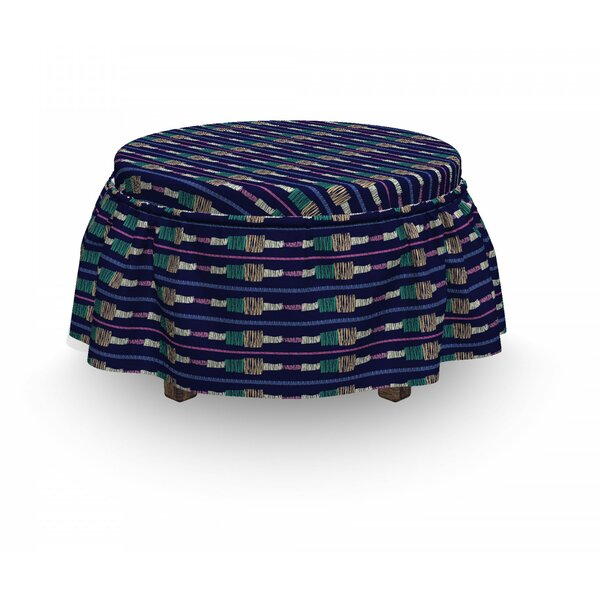 Grunge Doodle Stripes Ottoman Slipcover (Set Of 2) By East Urban Home