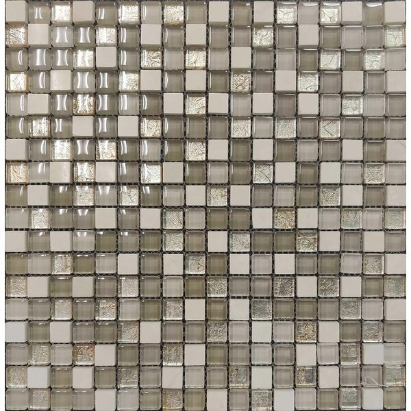 Minimo 12 x 12 Natural Stone and Glass Mosaic Tile