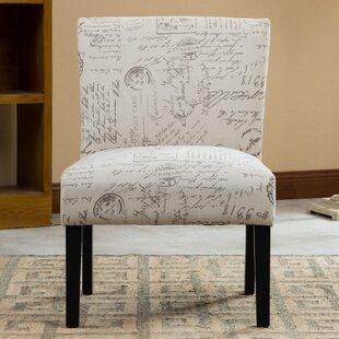 Steib English Letter Print Fabric Slipper Chair Charlton Home