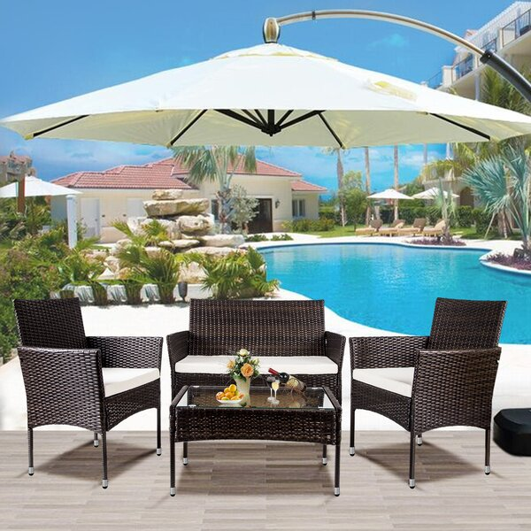 Alhed 4 Piece Rattan Complete Patio Set with Cushions by Latitude Run