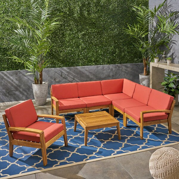Athenian Outdoor 7 Piece Sectional Seating Group by Longshore Tides