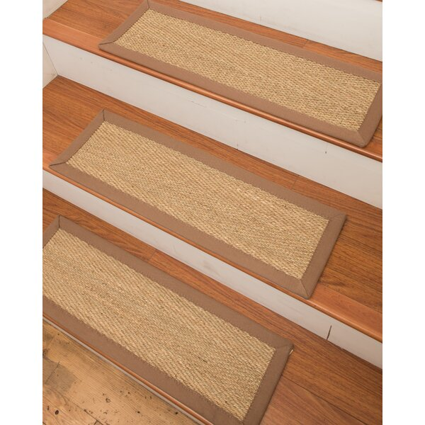 Costa Rica Seagrass Carpet Beige Stair Tread by Natural Area Rugs