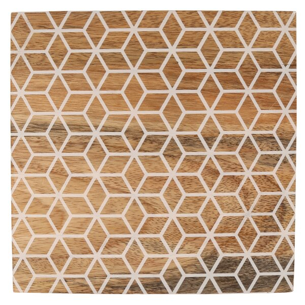 Cube Pattern Mango Wood Square Trivet by George Oliver