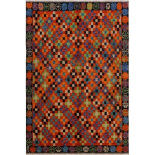 Savings One-of-a-Kind Laudalino  Hand-Knotted 4'9 x 6'7 Wool Orange/Red/Black Area Rug By Isabelline