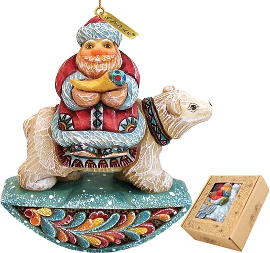 Fifield Santa on Polarbear Figurine Ornament by Th