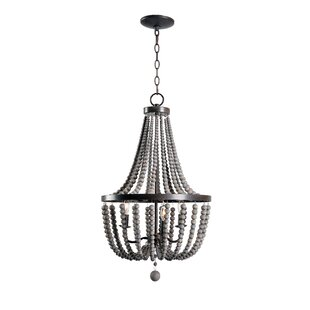 Louis Wood Bead 3 Light Empire Chandelier