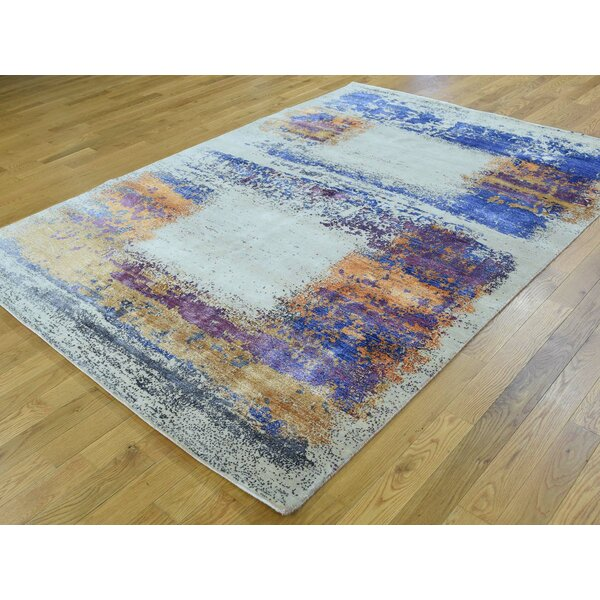 One-of-a-Kind Bradwell Abstract Design Handwoven Ivory Wool/Silk Area Rug by Isabelline