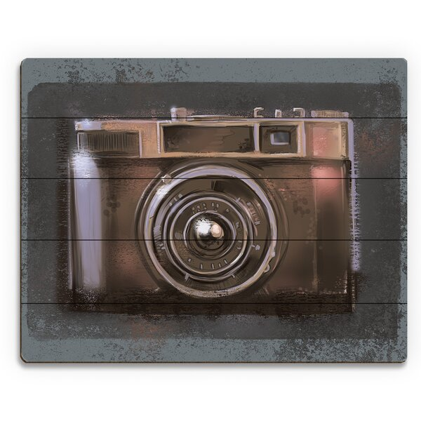 Vintage Camera Painting Print on Plaque by Click Wall Art