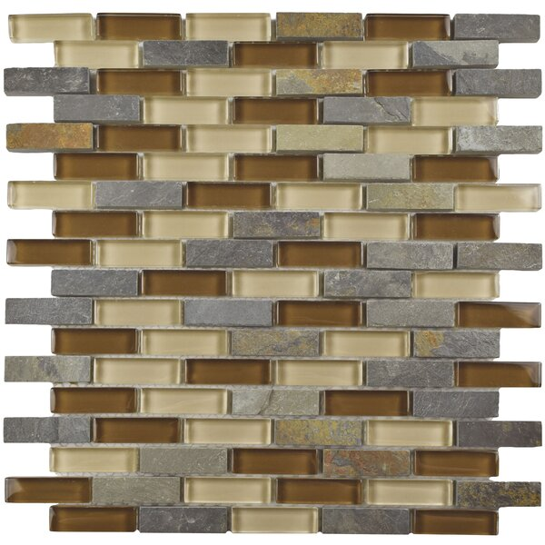 Sierra 0.58 x 1.88 Glass and Stone Mosaic Tile in Brown/Gray by EliteTile