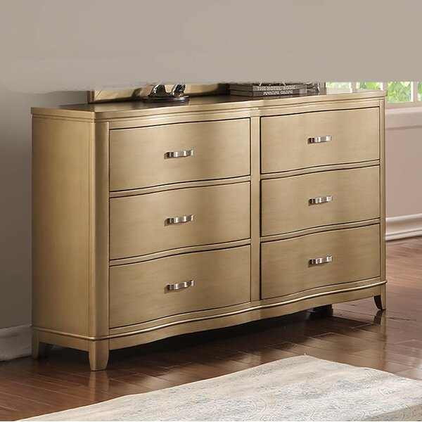 Klem Pine Wood 6 Drawer Double Dresser by Mercer41