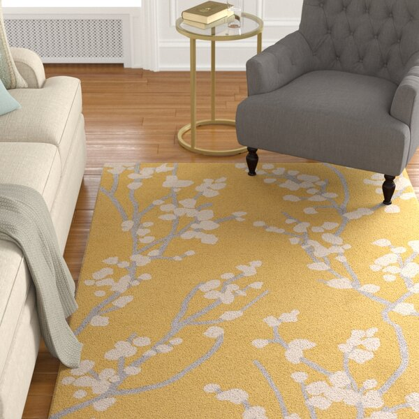 Dykstra Hand-Crafted Yellow/Ivory Area Rug by Charlton Home