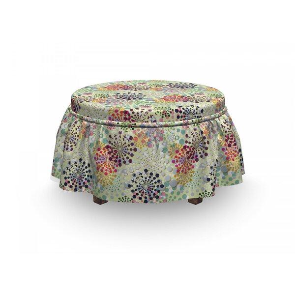 Ornamental Dots Design 2 Piece Box Cushion Ottoman Slipcover Set By East Urban Home