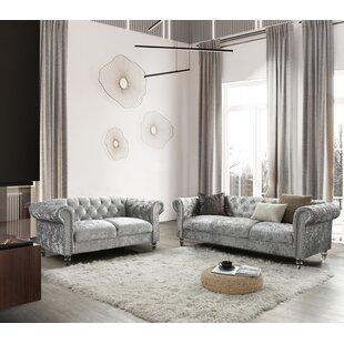 Woodbine 2 Piece Velvet Configurable Living Room Set by Rosdorf Park